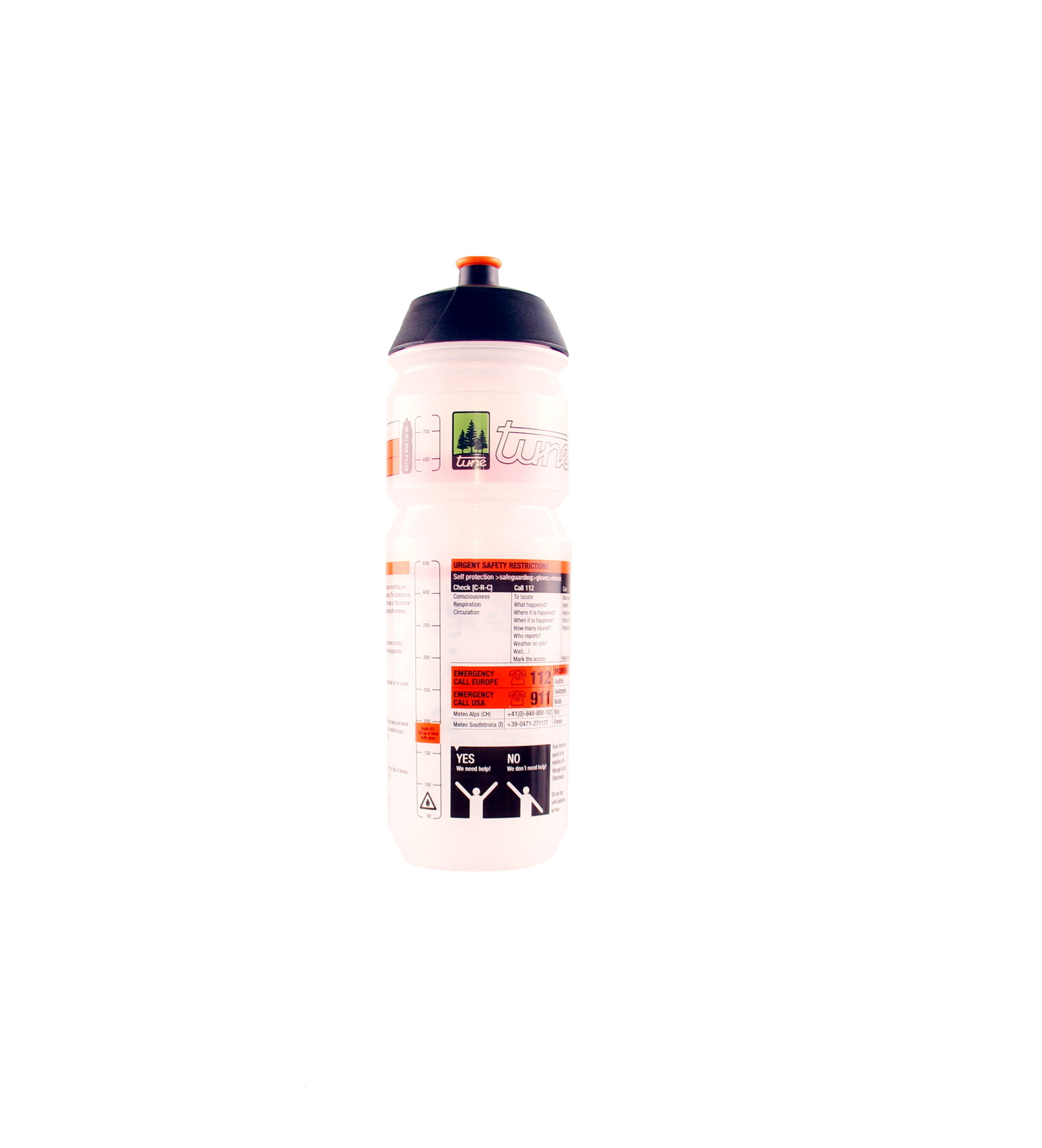 TUNE Bottle 750 ml (by Tacx, conical.) transparent